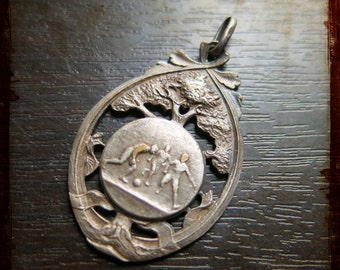 Antique French Art Nouveau Silver Sports Medal football team playing - Award football competition in France pendant for jewelry assemblage
