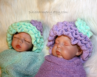 TWIN Ruffle Hats with Flower - 0-3 Months - ANY Colors - Baby Girl Hat - Photo Prop