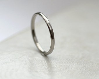 Dainty Palladium Wedding Band for Her, Hypoalergenic White Gold Alternative