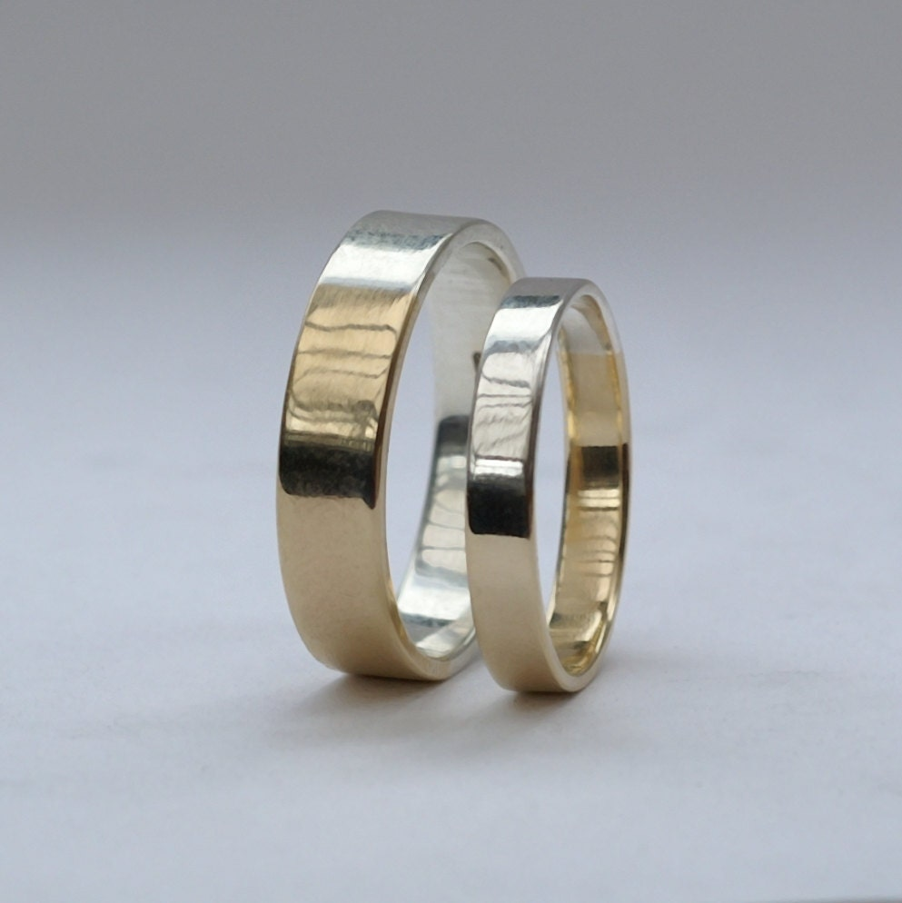 geek wedding ring gamer wedding rings Golden Ratio Wedding Rings Set Matching Wedding Bands His and Hers in 9k Gold and Sterling Silver
