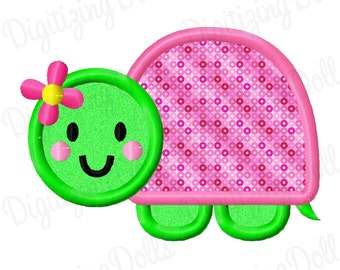 Turtle Girl Applique Machine Embroidery Design 4x4 5x7 Girly flower INSTANT DOWNLOAD