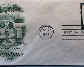 "1972 First Day Issue ""Twas The Night Before Christmas"" Stamp and Envelope"