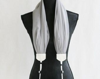 scarf camera strap soft gray chiffon - BCSCS043