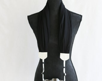 scarf camera strap black chiffon - BCSCS002