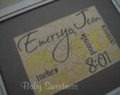 Yellow and Gray New Baby Birth Statistics Wall Hanging Subway Art Typography 8 X 10