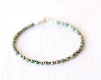 Turquoise and Pyrite Mixed Gemstone Bracelet  / Sterling Silver / 14K Gold Filled / Rose Gold /Stackable Gemstone Bracelet