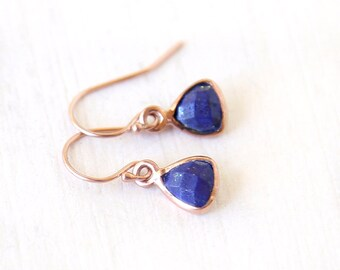 Modern Lapis Triangle Rose Gold Dangle Earrings /  simple everyday modern gemstone jewelry