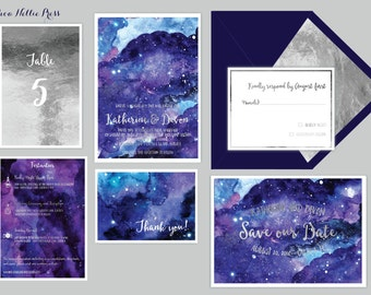 Star/Night Sky Wedding Invitations - Starry Night/Whimsical/Watercolor
