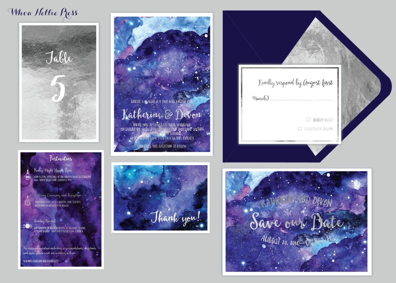 Star/Night Sky Wedding Invitations Starry