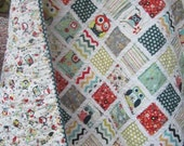 Just Owls.....A Baby/Toddler Fray Edge Quilt...Shower Gift.....Ready to Ship