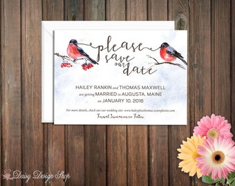 Save the Date Card - Winter Birds on Branches