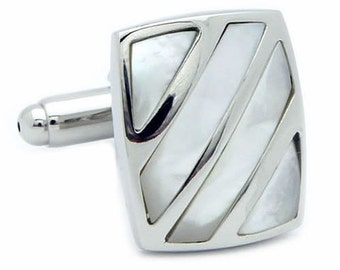Square Stripe Shell Cufflinks