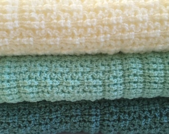 Knitted Baby Afghan/Throw ,Natural, Soft Mint, Mint Green