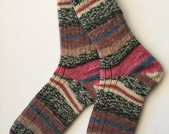 "Women's Wool Socks  ""Opal Rendezvous"" Hand Cranked"