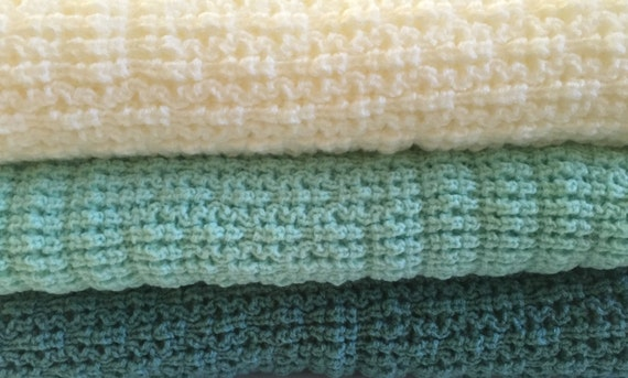 Knitted Baby Afghan/Throw , Soft Mint, Mint Green, Natural