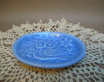 Light Blue Retro Owl soap dish