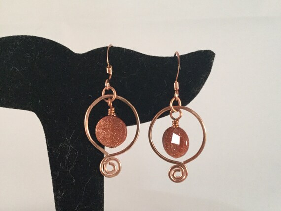 Goldstone Hoop Earrings, Omega Hoop, Copper Hoop Earrings, brown goldstone dangle, copper jewelry, spiral earrings, under 20, gifts for her