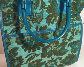 Vintage Retro Blue floral tapestry Carry on luggage purse bag