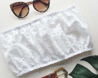 White broderie lace anglaise crop cropped tube top