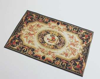 Miniature Rug The Elegant Rooster in Largest Dollhouse or Playscale Size
