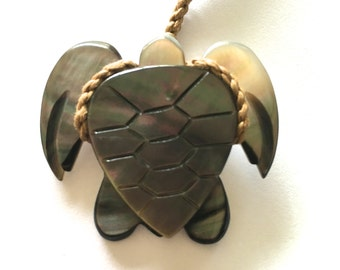 Hand Carved Sea Turtle Adjustable Necklace-FREE SHIPPING