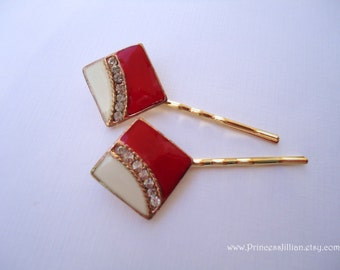 Vintage earrings hair slides - Art deco red white cream enamel with clear rhinestones gold decorated embellish jeweled hair accessories