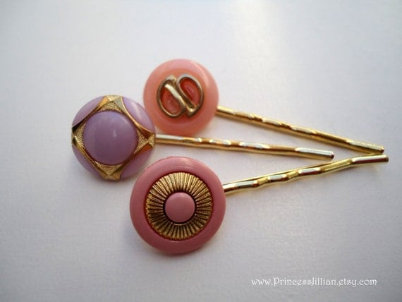 Vintage button hair pins - Pink Lilac gold trio decorative hair accessories  TREASURY Iitem