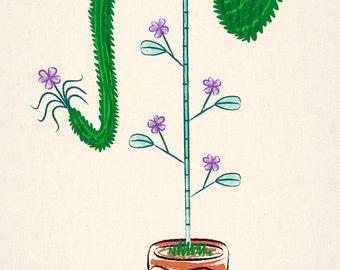 ELEPLANT - animal plant illustration - Limited Edition Art Poster Print
