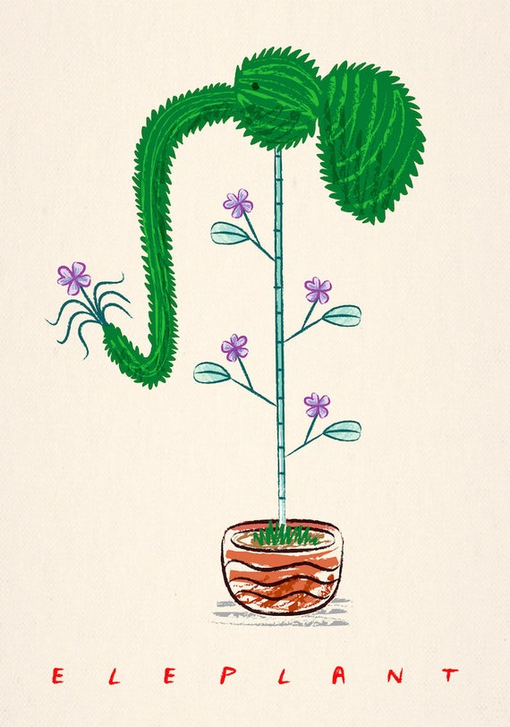ELEPLANT - animal plant illustration - Limited Edition Art Poster Print
