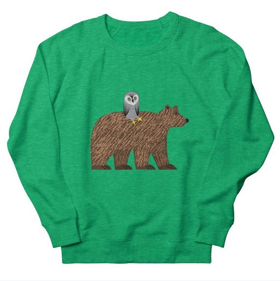 The Owl and The Bear - Mens / Womens - Heather Oatmeal / Pink / Green - Sweatshirt by Oliver Lake - iOTA iLLUSTRATiON