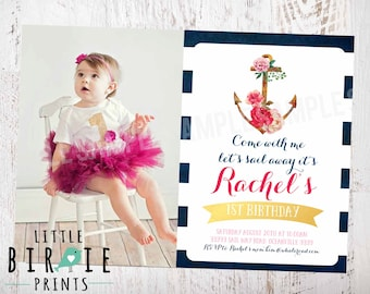 GIRL NAUTICAL BIRTHDAY Invitation Gold Nautical First Birthday Invitation Nautical Girl Invitation Pink Nautical Invitation Birthday Party