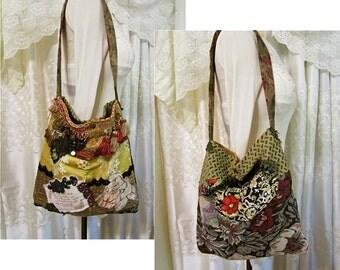 Bohemian Purse, handmade gypsy bag, upholstery fabric bag, thick shoulder bag, eco friendly upcycled earth tones