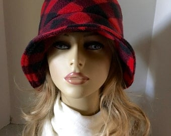Womens, Unisex Fleece Winter Fall Cloche, Bucket Hat--Red and Black Buffalo Plaid