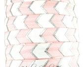 Pink Arrow with Silver Fold Over Elastic - Hair Tie, Hair Elastic Bracelet, Elastic, Hair Elastic Ties, Elastic Ribbon, Elastic Hair Bands