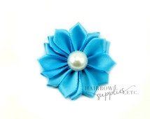 Turquoise Dainty Star Flowers with Pearl 1-1/2 inch - Turquoise Fabric Flowers, Turquoise Silk Flowers, Turquoise Hair Flowers, Blue Flowers
