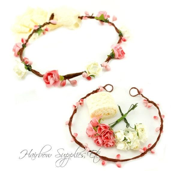 DIY Pink And Ivory Floral Crown Kit DIY Flower Crown
