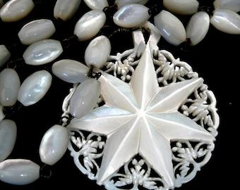 Vintage Star of Bethlehem Carved Mother of Pearl Necklace