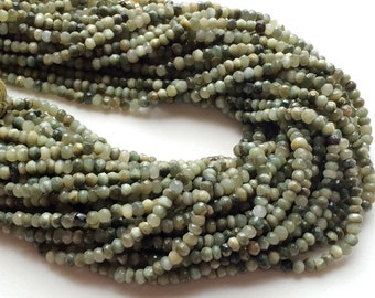 Cats Eye Bedads, Green Cats Eye Micro Faceted Rondelles, Cats Eye Israeli Beads, Cats Eye Necklace, 4 - 5.5mm, 13 Inch Strand