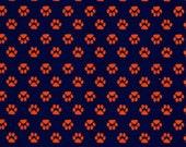 Fabric Finders Mini Orange Paws on Navy