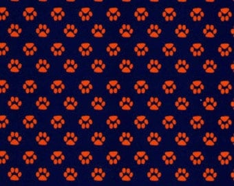 Fabric Finders Mini Orange Paws on Navy