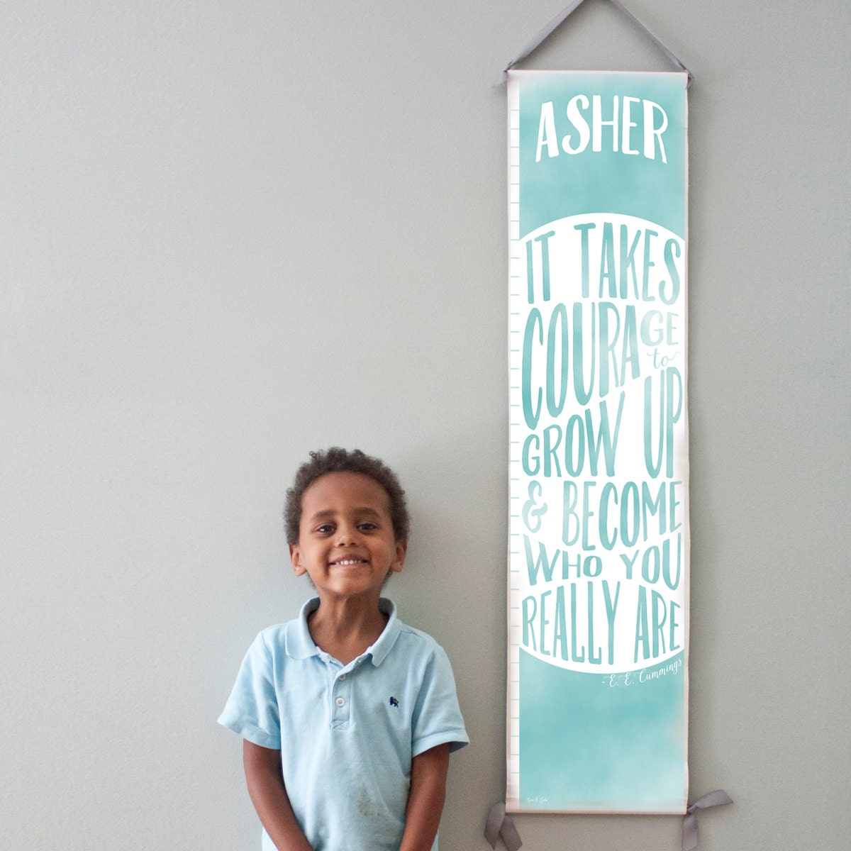 """Custom/ Personalized Blue """"It takes courage to grow up"""" growth chart - Perfect for baby boy nursery or gender neutral room"""