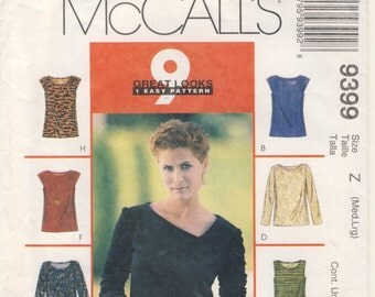 McCall's 9399 one pattern nine looks Misses Top for Stretch Knits