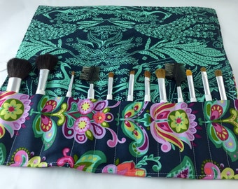 Blue Makeup Brush Roll - Makeup Brush Organizer - MakeUp Brush Holder - Makeup Brush Case - Amy Butler Bright Heart Folk Bloom in Midnight