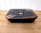 Vintage Retro Black and Gold Trinket Jewelry Box Ceramic