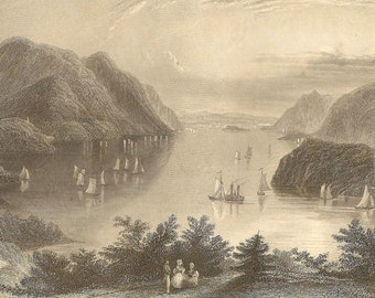 View From West Point (Hudson River) William Henry Bartlett - Framed Engraving from 1850s Lovely Historic Piece