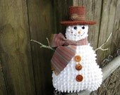 Primitive Happy Snowman Ornament, Smiling Snowman Tuck, vintage chenille, rustic country holidays, Prim snowman, snowflakes, unique, rust