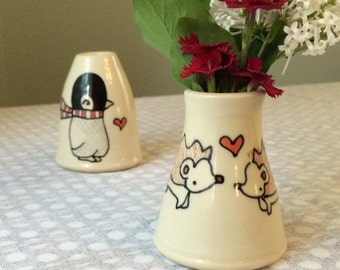 hedgehogs in love bud vase
