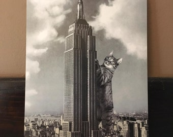 Cat Print, Empire State Building, Cat Art, Cats, New York, New York City, Skyscraper, Art, Alternate Histories, Kitties