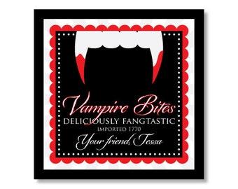 Halloween Sticker - Treat Bag Sticker - Halloween Vampire Sticker - Vampire Sticker - Favor Sticker - Halloween Label - Vampire Fangs