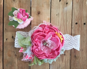 Pink spring headband ready to ship cozette couture matilda jane flower